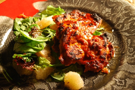 Harissa-Marinated Chicken with Pink Grapefruit Salad ...